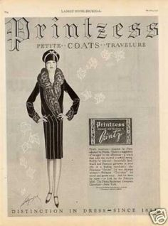 1927 Printzess Coat advertisement.  Love the lines on this one.