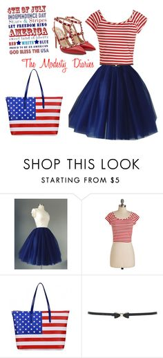 """""""Modest 4th of July Outfit"""" by themodestydiaries ❤ liked on Polyvore featuring M&Co and Valentino"""