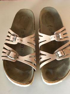 BIRKENSTOCK Beige Leather Slip On Sandals Size 40 L9 M7 Germany #Birkenstock