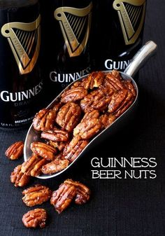 Not just beer nuts, Guinness Beer nuts. With bacon. The most addictive snack you'll make for St. by liliana Nut Recipes, Beer Recipes, Irish Recipes, Snack Recipes, Cooking Recipes, Fudge Recipes, Delicious Recipes, Coffee Recipes, Guinness Recipes