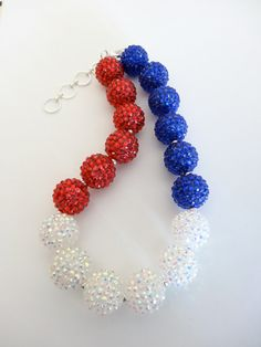 Don't forget your Holiday Jewelry! of July chunky bubblegum necklace Chunky Bead Necklaces, Bubble Necklaces, Chunky Jewelry, Chunky Beads, Girls Necklaces, Sugar Beads, Let Freedom Ring, Holiday Jewelry, Diy Jewelry Making