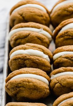 The BEST gingerbread cookies you'll ever have! Smooth cream cheese frosting is sandwiched between two soft gingerbread cookies resulting in delicious gingerbread whoopie pies. These are delicious Christmas and holiday cookies. Soft Cookie Recipe, Ginger Bread Cookies Recipe, Easy Cookie Recipes, Sweet Recipes, Ginger Cookies, Köstliche Desserts, Delicious Desserts, Yummy Food, Fun Food