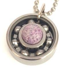 Purple Dino Egg Roller Derby Skate Bearing Pendant #rollerderby #bearingjewelry #derbygirldesigns #rollerderbygifts