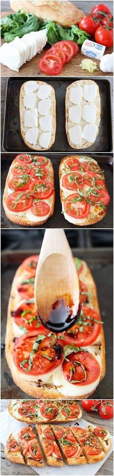 Caprese Garlic Bread #caprese #bread #recipe