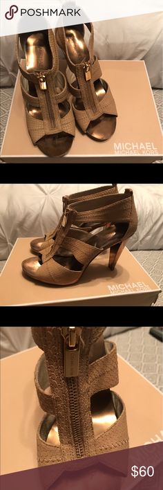 Michael Kors zip heels Michael Kors zip heels. Dark nude color with gold detail. Michael Kors Shoes Heels