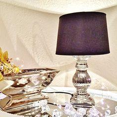 ONLYCLIC STEFFI Tischlampe Silber Schwarz Keramik Shabby Chic Tischleuchte Keramiklampe
