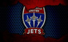 Download wallpapers Newcastle Jets, 4k, logo, A-League, soccer, football club, Australia, grunge, metal texture, Newcastle Jets FC