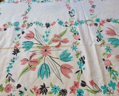 Vintage Linen Table Cloth Tulips & Flowers Pink by vintagelady7, $22.50
