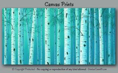 Teal green and turquoise blue birch tree art by Denise Cunniff - ArtFromDenise.com. View more info at https://www.etsy.com/listing/232629379
