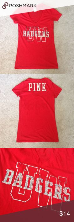 PINK Shirt University of Wisconsin Madison shirt from PINK! Worn once and is in excellent condition:) PINK Victoria's Secret Tops