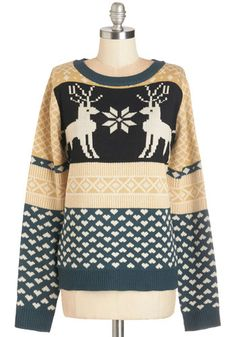 Snowflake it to Heart Sweater. Cozy up to the vintage-inspired whimsy of this soft knit sweater. #gold #prom #modcloth