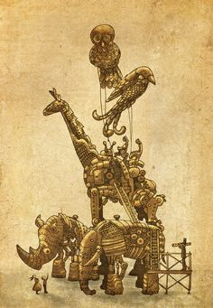 Mechanical Menagerie  Stretched Canvas