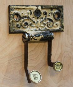 Great coat / key hook. Really great re-use of door hinges. $25 #salvage