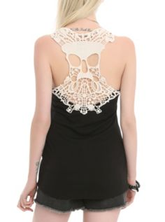 I want this Teenage Runaway Skull Crochet Girls Tank Top for #HOTTOPIC