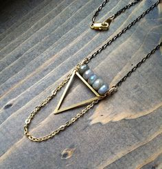 Titanium labradorite & triangle necklace, layering necklace, boho necklace, tribal necklace, geometric, sacred geometry, fire, blue, flash by BlueTribe