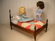 "Antique Wooden Bed for Small Dolls - 11"" Inches Long - Quilt and Bedding Included"