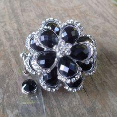 Black rhinestone flower retractable badge reel,Medical badge,RN badge,Brooch lanyard, Cute badge reel,Medical,ID Holder,Medical jewelry by AllThingsMish on Etsy