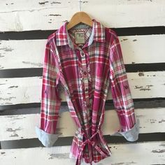 Mayoral Pink & Red Plaid Tunic Top with Tie