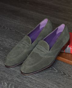 Light Green Suede Penny Loafer, by Carmina.  Men's Spring Summer Fashion.