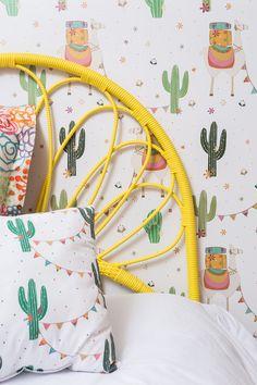 #lhama #paineladesivo #quartosdecriança #montessoriano #balanço #decoraçãoinfantil #decorforkids #quartoinfantil #quartocharmoso #bohodecor #cabeceira #quartodemenina #designbrasileiro #decoração Bright Colors, Colours, Home Projects, Baby Room, Kids Room, Yellow, Children, Bedrooms, Inspiration