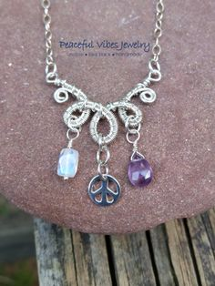 Amethyst Rainbow Moonstone Charm Necklace Sterling Silver Peace Sign Charm One…