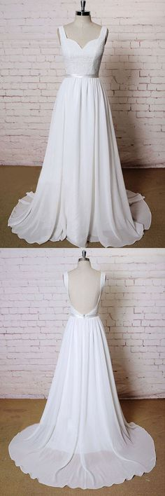 Wedding Dress With Appliques, Backless Wedding Dress, 2018 Wedding Dress, A-Line Wedding Dress, Chiffon Wedding Dress, Wedding Dresses 2018 #Wedding #Dresses #2018 #Backless #Dress #Chiffon #With #Appliques #ALine