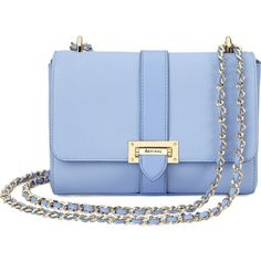 ASPINAL OF LONDON Lottie leather shoulder bag ($525) ❤ liked on Polyvore featuring bags, handbags, shoulder bags, chain shoulder bag, blue shoulder bag, chain strap purse, leather handbags and real leather purses