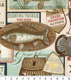 "Anti-Pill Fleece Print Fabric 58""-Fishing And Casting Club"