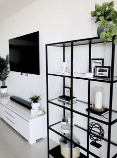Ikea home decorating interiordesign home cabinet bookshelf scandinavian monochrome lacasade mamiandchic Living Room Storage, Home Living Room, Living Room Designs, Living Room Decor To Buy, Modern Living Room Decor, Black And White Living Room Decor, Living Room Cabinets, Black Decor, Modern Decor