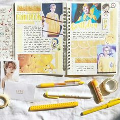 ☁️✨ minseok's birthday spread that i made back in march😌 sorry for being a little inactive! i'm so busy nowadays😔😭 Cute Scrapbooks, Journal Inspiration, Journal Ideas, Cute Journals, Bullet Journal Notes, Hand Drawn Fonts, Drawing Journal, School Planner, Journal Aesthetic