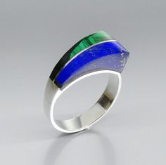 Lapis Lazuli and Malachite ring with Sterling silver  modern