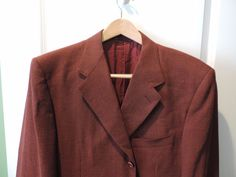 Canali 100% Wool Solid Red Designer All Season Blazer 44L Made in Italy Mint #Canali #ThreeButton