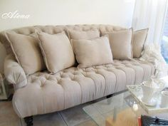Loving This Gorgeous Linen Tufted Sofa