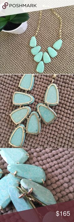 Kendra Scott Necklace Amazonite Harlow necklace.  Gold hardware. Has black marking from where the chain runs together. Tiny chip on stone. All markings are pictured.  100% authentic. No trades.  Love the item but not the price? Make an offer.  Happy Shopping  Kendra Scott Jewelry Necklaces