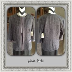 Gray Lace Jacket Gray lace jacket with 3/4 sleeves. Fully lined. 5-snap front placket closure, hidden for a smooth look. Two front pockets. Great with jeans, slacks or skirt. 61% Cotton 39% Nylon, Lining is 100% Polyester  PayPal  Trades  Holds Coldwater Creek Jackets & Coats