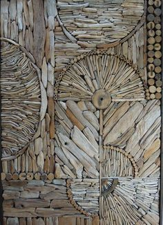 Love this picture of a nice driftwood mosaic/pattern by Kathy Killip, interesting idea for a wall decoration! More information: Kathy Killip website !