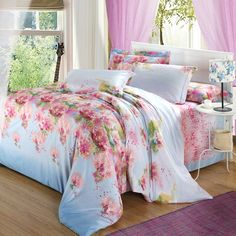 Twill full cotton 4pcs satin bedding sets #beautiful #cotton #flower #bedding #bedroom