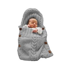 Colorful Newborn Baby Wrap Swaddle Blanket, Comwinn Baby Kids Toddler Wool Knit Blanket Swaddle Sleeping Bag Sleep Sack Stroller Wrap for 0-12 Month Baby (small, Grey) - $9.99
