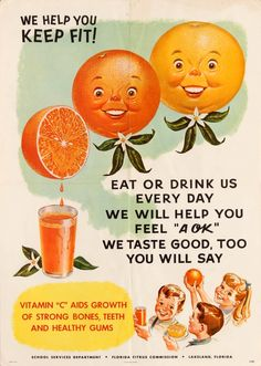 We Help You Keep Fit Florida Citrus Vitamin C Health USA / / Advertising Posters / Original vintage… / MAD on Collections - Browse and find over categories of collectables from around the world - antiques, stamps, coins, memorabilia, a 1950s Advertising, Vintage Advertisements, Vintage Ads, Vintage Advertising Posters, 1950s Ads, Funny Vintage, Vintage Stuff, Usa Party, Poster Art