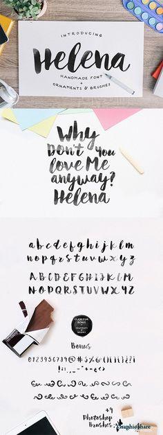 Font - Helena | Ideen + Inspiration Webdesign | Fonts in Handschrift Design, um Deine Marke individuell zum leuchten zu bringen! Das kombinieren macht besonders Spaß! Viel Freude beim Auswählen Deiner liebsten Schriftart ♡ Super für deine Webseite, Markenentwicklung, Visitenkarten oder gar die Gestaltung Deiner Hochzeit ☆ hand painted characters