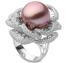 Yoko London: Radiant Orchid Pearl Flower Ring  Diamond-lined petals cradle the…
