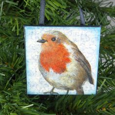 Robin Red Breast Whimsical Little Bird Ornament, Woodland Bird Miniature Art Wall Hanging by NaturesWalkStudio on Etsy