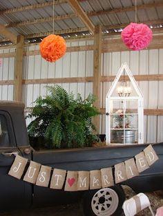 Cobblestone Farms: June 2012 - some nice barn wedding decor ideas.  Love the farm truck.
