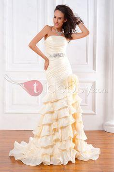 トランペット/マーメイドストラップレス床まで届く長さチャペルティアードウェディングドレス
