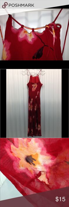 Silk Dress - w/ Flaws Beautiful Red Silk Dress w/ Flowers (may be hand-painted - will double/check) with Frey at arm and tear at seam - just thought I'd put it out there :) Dresses Midi
