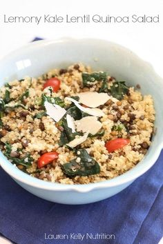Lemony Kale Lentil Quinoa Salad | Lauren Kelly Nutrition #glutenfree #healthy
