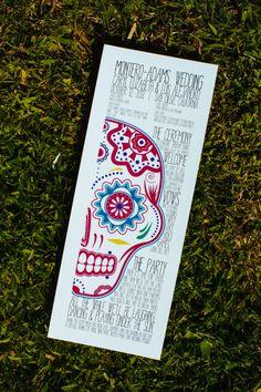 Wedding Program. English. Spanish. Bilingual. Dia de los Muertos.  Day of the Dead. Sugar skull. Wedding.  Multi-color.  Park.  Pioneer Park.  San Diego.  California. Photo by Michael Tyler.