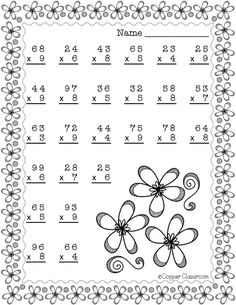 Spring Double Digit Multiplication With Regrouping, Two Digit Multiplication 4th Grade Multiplication Worksheets, Printable Math Worksheets, School Worksheets, 2nd Grade Math, Maths, Learn Swedish, Dj Inkers, Math Addition, Math Numbers