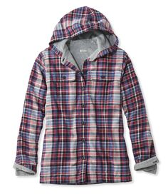 Fleece-Lined Flannel Plaid Hoodie - dusty navy size L