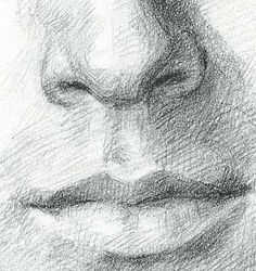 Crichton - close up of nose and mouth pencil drawing for line contour reference.